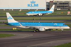 KLM Royal Dutch Airlines Airplanes Amsterdam Airport Stock Photos