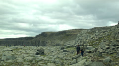 Tourists at DETTIFOSS WATERFALL, ICELAND - CIRCA AUGUST, 2014 Stock Footage