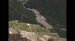Vintage 16mm film, Machu Picchu valley below, 1960 Stock Footage