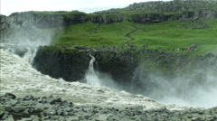 Top of DETTIFOSS WATERFALL, ICELAND- CIRCA AUGUST, 2014 Stock Footage