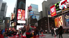 Times Square with regular amount of people Stock Footage
