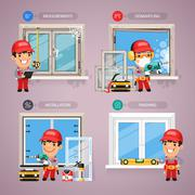 Window Installation Step by Step with Handyman Carpenter Stock Illustration