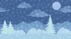 Christmas Landscape, Winter Forest, Seamless Loop Stock Footage