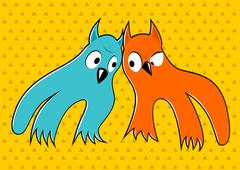 Two cartoon monsters looking at each other Stock Illustration
