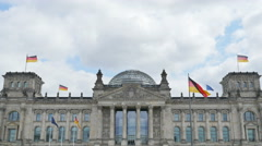 Reichstag bundestag german parliament front view 4k Stock Footage