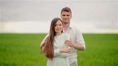 happy couple lovers smiling at the camera - stock footage