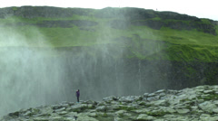 Tourist at Dettifoss ICELAND - CIRCA AUGUST, 2014 Stock Footage