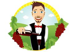 young smiling waiter pours red wine - stock illustration
