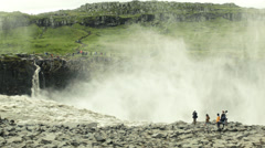 Tourists Photograph Dettifoss Waterfall ICELAND - CIRCA AUGUST, 2014 Stock Footage