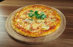 Pizza aglio, olio e pomodoro Stock Photos