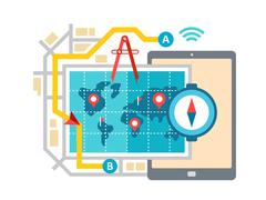 GPS Map Navigation and Routing Stock Illustration