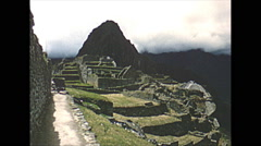 Vintage 16mm film, 1960, Machu Picchu, establishing shot, no people Stock Footage