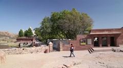 Man walking towards the entrance to Jaswant Thada courtyard. Stock Footage