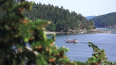Sailboat, motoring into port forest view Stock Footage