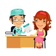 Lady Doctor Giving a Prescription to Her Female Patient - stock illustration