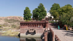 Panoramic view of lake by Jaswant Thada temple in Jodhpur. Stock Footage