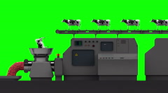 Cows fall into a meat grinder, 4K. Seamless loop, green screen. Stock Footage