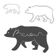 Grizzly Bear silhouette shape logo isolated Stock Illustration