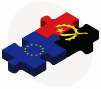 European Union and Angola Flags in puzzle - stock illustration