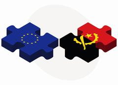 Stock Illustration of European Union and Angola Flags in puzzle