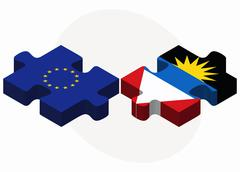 European Union and Antigua and Barbuda Flags in puzzle - stock illustration