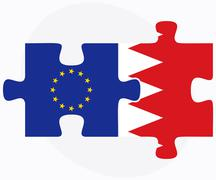 Stock Illustration of European Union and Bahrain Flags in puzzle