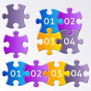 Colorful puzzle pieces Stock Illustration