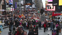 Stock Video Footage of Many people in Times Square