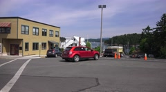Port of Friday, staging are for cars on ferryboat Stock Footage