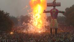 Effigy explodes creating massive fireworks display in India Stock Footage