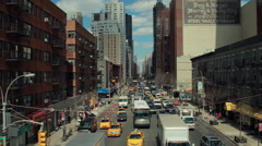 New York City aerial dolly moving shot street traffic buildings Stock Footage