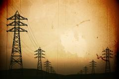 High Voltage Electric Poles in the Sunset Sunrise 3D artwork - stock illustration