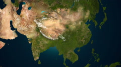 Revival of vegetation in Asia, 4K animation. Stock Footage