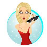 Beautiful woman applying eyeliner pencil Stock Illustration