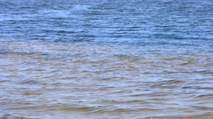 Wave-covered water surface on Dnieper river Stock Footage