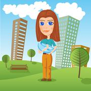 mother holding newborn baby in the park - stock illustration