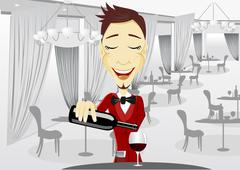 smiling waiter pouring wine into glass - stock illustration