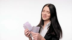 Business woman counting euro cash Stock Footage