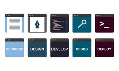web development process, descripe, design, develop, debug, deploy - stock illustration