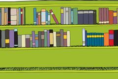 Two Full Rows in Bookshelf - stock illustration