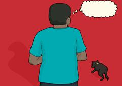 Concerned Man and Stray Dog - stock illustration
