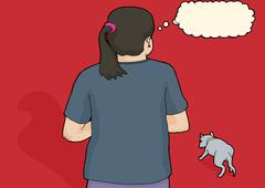 Worried Person Looking at Stray Dog - stock illustration