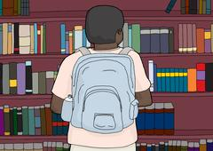 African-American Person with Backpack at Library Stock Illustration