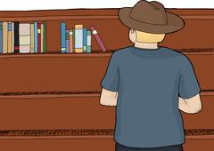 Person in Hat Browsing Books - stock illustration