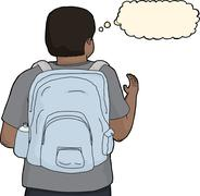 Person with Backpack Reaching - stock illustration