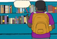 Student Reaching For Book Stock Illustration