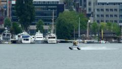 Seaplane Taking Off From Lake Union In Seattle Stock Footage
