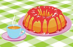 Cake with glaze and a cup of hot drink - stock illustration