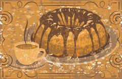 Cake with glaze and a cup of hot drink. grunge - stock illustration