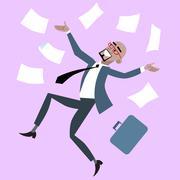 African businessman rejoices luck success - stock illustration